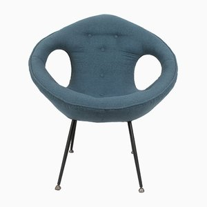 Mid-Century Polish Blue Lounge Chair