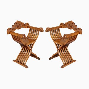 Vintage Renaissance-Style Carved Blond Walnut Savonarola Chairs, Set of 2