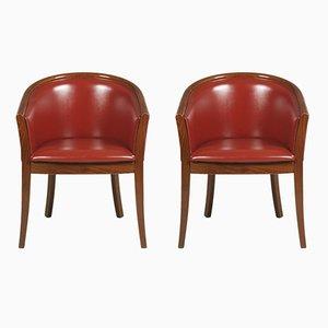 Art Deco Stühle aus Nussholz & Kunstleder in Bordeauxrot, 1930er, 2er Set