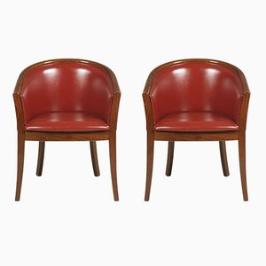 Art Deco Walnut & Bordeaux Leatherette Armchairs, 1930s, Set of 2