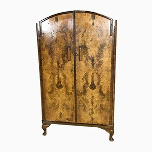 Art Deco Walnut Burl Wardrobe, 1930s
