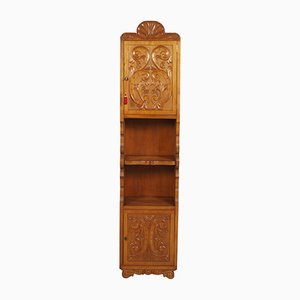 Italian Hand-Carved Walnut Wax-Polished Bookcase, 1950s