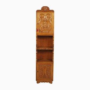 Italian Hand-Carved Walnut Wax-Polished Bookcase, 1950s