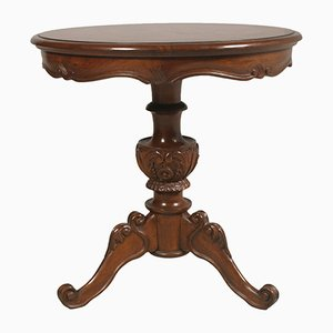 Baroque Burl & Carved Walnut Wax-Polished Round Coffee Table, 1940s