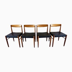 Rosewood & Teak Chairs with Black Leather by H.W. Klein for Bramin, 1960s, Set of 4