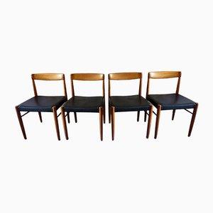 Stühle aus Palisander & Teak mit schwarzem Leder von H.W. Klein für Bramin, 1960er, 4er Set