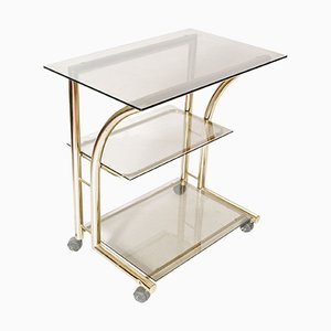 Gilt Brass & Glass Fumè Bar Cart, 1970s