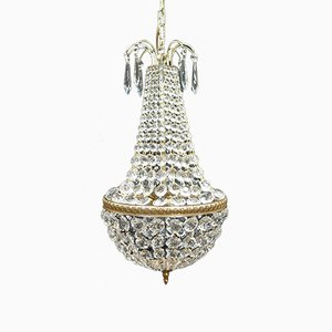 Vintage Empire Crystal Glass Basket Chandelier