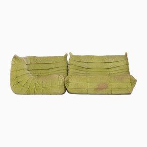 Canapé Togo Vintage Modulable Vert Citron par Michel Ducaroy pour Ligne Roset, 1970s