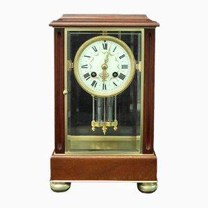 Horloge de Cheminée Antique en Acajou et en Verre de Samuel Marti, France