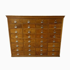 Portuguese Industrial Oak 32 Drawer Filing Cabinet, 1940s