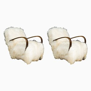 Sheepskin Armchairs by Jindřich Halabala, 1950s Set of 2