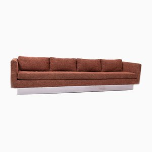 Mid-Century Four-Seat Orange Wool Tuxedo Sofa by Milo Baughman