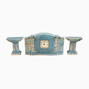 Horloge Art Déco avec Garniture de Cheminée en Faïence