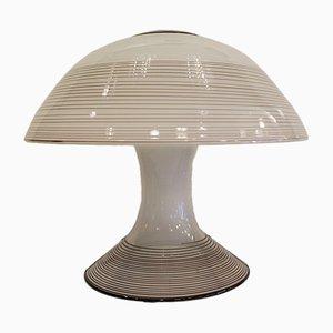 Schwarz-weiße Tischlampe aus Muranoglas mit Wirbelmuster von Renato Toso für Leucos, 1970er