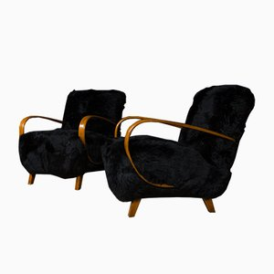 Black Back Sheep Skin Yeti Chairs by Jindřich Halabala