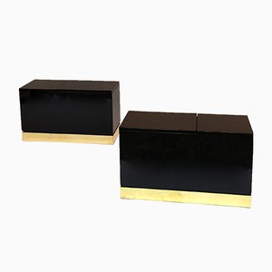 French Lacquered Side Trunk Tables by Jean Claude Mahey, 1970s, Set of 2