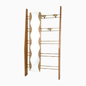 Mid-Century Cherry Veneer, Brass and Mirror Coat Rack, 1950s