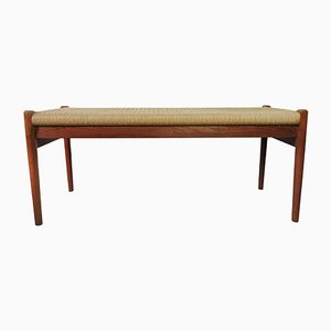 Danish Teak Bench with Cord Seat from J. L. Mollers, 1950s