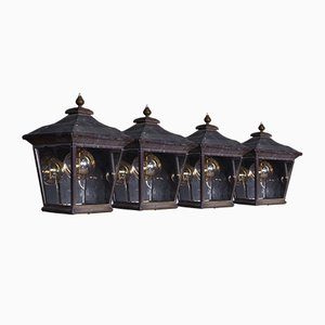 Vintage Brass Wall Lanterns, Set of 4