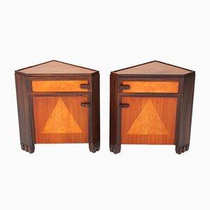 Tables de Chevet Art Déco en Sycomore par Max Coini, 1920s, Set de 2
