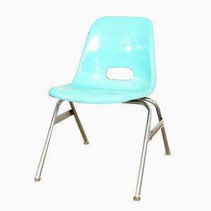 Silla infantil de fibra de vidrio azul verdoso de Krueger Products, años 60