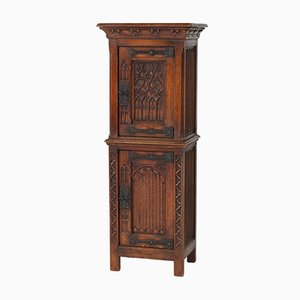 Vintage Dutch Gothic Revival Oak Cabinet or Dry Bar, 1940s