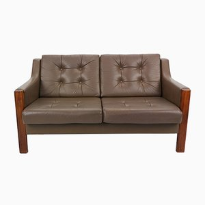 Scandinavian Leather & Rosewood 2-Seater Sofa, 1970s