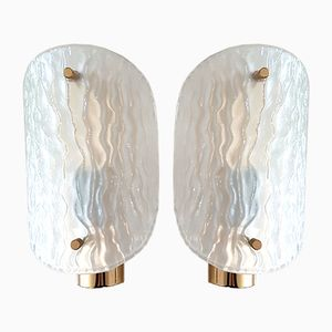 Ice Glass and Brass Sconces, 1970s, Set of 2