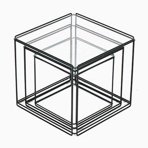 Tavoli ad incastro Mid-Century moderni in metallo e vetro di Max Sauze