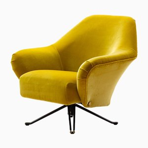 Ochre Yellow Velvet P32 Lounge Chair by Osvaldo Borsani for Tecno, 1950s