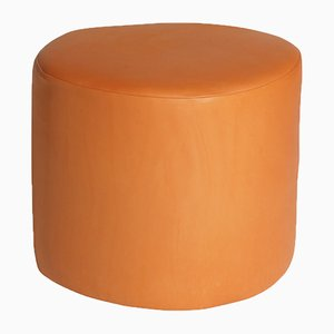 Orange Leather Stuffed Circle Pouf by Noah Spencer for Fort Makers