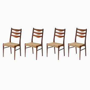 Teak & Rope Chairs by Arne Wahl Iversen for Glyngore Stole Fabrick, 1960s, Set of 4