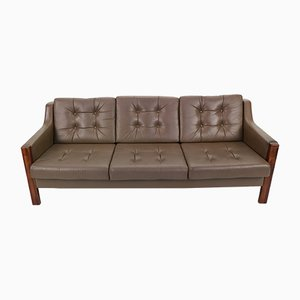 Scandinavian Rosewood & Leather Sofa, 1970s
