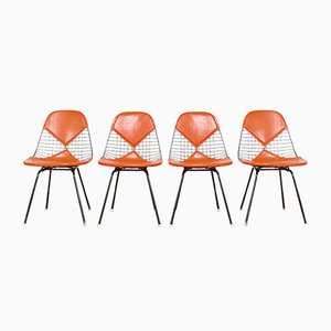 Vintage DKX-2 Red Bikini Chairs by Charles & Ray Eames for Herman Miller, Set of 4