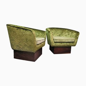Green Velvet and Walnut Armchairs, 1940, Set of 2