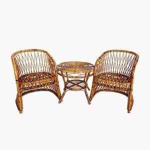 Italienische Stühle und Tisch aus Bambus von Vittorio Bonacina, 1960er