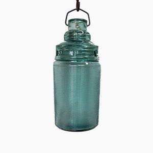 Lampada vintage industriale in vetro, anni '50