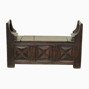 Rustikale Vintage Sitzbank mit Truhe