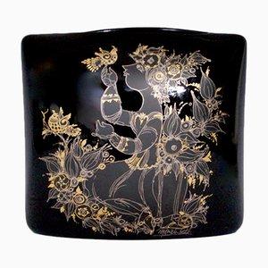 Grand Vase Noir en Porcelaine par Bjørn Wiinblad pour Rosenthal, 1970s