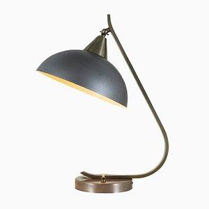 Lampada da tavolo industriale blu e grigia, anni '50