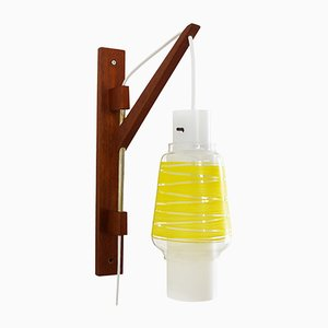 Suspended Yellow & Frosted Glass Wall Light, 1950s