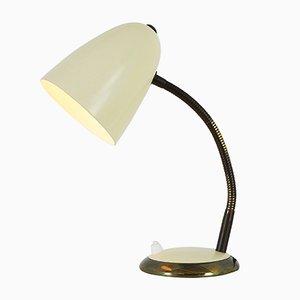 Lampada da tavolo color crema con dettagli in ottone, anni '60