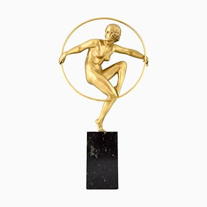 Art Deco Gilt Bronze Hoop Dancer Sculpture by Marcel André Bouraine, 1930s