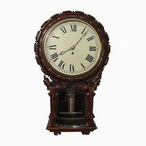 Victorian Mahogany Drop Dial Wall Clock, 1860s