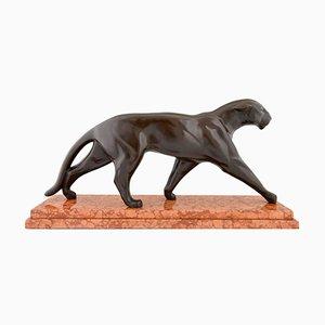 Scultura di una pantera Art Déco in bronzo di Michel Decoux, anni '30