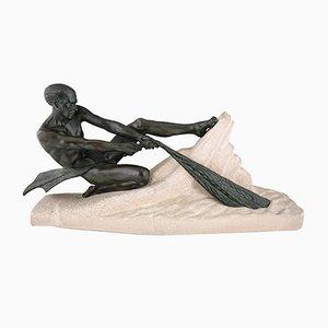 Art Deco Fischer-Skulptur von Max Le Verrier, 1937
