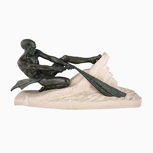 Art Deco Fisherman Sculpture by Max Le Verrier, 1937