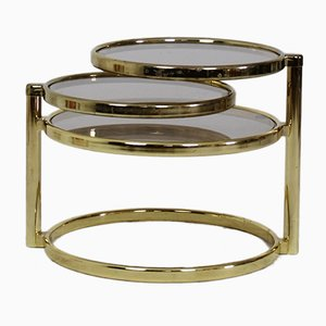 Mid-Century Brass Plated 3 Tier Swivel Coffee Table, 1970s