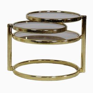 Tavolino da caffè girevole Mid-Century placcato in ottone a tre ripiani, anni '70